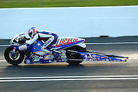 May 30, 2014; Englishtown, NJ, USA; NHRA pro stock motorcycle rider Hector Arana Jr during qualifying for the Summernationals at Raceway Park. Mandatory Credit: Mark J. Rebilas-