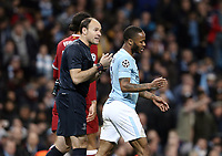Referee Antonio Miguel Mateu Lahoz has words with Manchester City's Raheem Sterling <br /> <br /> Photographer Rich Linley/CameraSport<br /> <br /> UEFA Champions League Quarter-Final Second Leg - Manchester City v Liverpool - Tuesday 10th April 2018 - The Etihad - Manchester<br />  <br /> World Copyright &copy; 2017 CameraSport. All rights reserved. 43 Linden Ave. Countesthorpe. Leicester. England. LE8 5PG - Tel: +44 (0) 116 277 4147 - admin@camerasport.com - www.camerasport.com