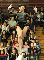 STANFORD, CA--March 1, 2013--Amanda Spinner with Stanford women's Gymnastics team competes during the competition against Cal and Oregon State University on the Stanford University Campus. Stanford won the competition .