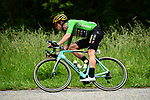 Green Jersey Wout Van Aert (BEL) Team Jumbo Visma in action during Stage 7 of the Criterium du Dauphine 2019, running 133.5km from Saint-Genix-les-Villages to Les Sept Laux - Pipay, France. 15th June 2019.<br /> Picture: ASO/Alex Broadway | Cyclefile<br /> All photos usage must carry mandatory copyright credit (© Cyclefile | ASO/Alex Broadway)