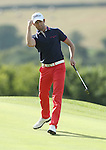Frenchman Gregory Bourdy punches the air to celebrate his birdie putt on the 17th in the final round of the ISPS Handa Wales Open 2013 at the Celtic Manor Resort.<br /> <br /> 01.09.13<br /> <br /> &copy;Steve Pope-Sportingwales