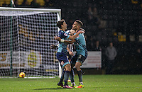 Goalscorer Scott Kashket of Wycombe Wanderers celebrates with assist Paris Cowan-Hall of Wycombe Wanderers during the Sky Bet League 2 match between Notts County and Wycombe Wanderers at Meadow Lane, Nottingham, England on 10 December 2016. Photo by Andy Rowland.