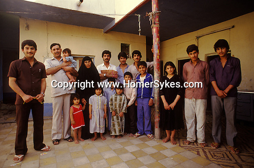 Marsh Arabs. Southern Iraq. Circa 1985. Marsh Arab family living in Baghdad husband wife and fourteen children