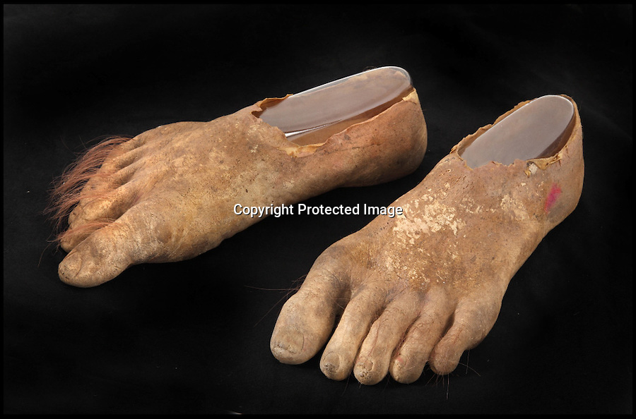 BNPS.co.uk (01202) 558833<br /> Picture: Julien's/BNPS<br /> <br /> ****Please use full byline****<br /> <br /> Samwise Hobbit prosthetic feet estimated &pound;18,750.<br /> <br /> Lord of the bling...<br /> <br /> Hobbit hero Frodo Baggins' ring and sword are among an incredible &pound;1.5 million archive of props from the blockbuster Lord of the Rings films that has emerged for sale.<br /> <br /> Dozens of the smash hit trilogy's most iconic costumes and props are up for grabs including Gandalf's staff, Sauron's helmet and Gimli's battle axe.<br /> <br /> Fans of the films, adapted from the 1954 book by British author J.R.R. Tolkein, can also get their hands on prosthetic hobbit ears and feet.<br /> <br /> Amazingly the props have been compiled by a Lord of the Rings enthusiast who has spent more than 10 years scouring the world for authentic memorabilia.<br /> <br /> They are being sold by Julien's Auctions in Los Angeles on December 5.
