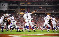 Dec 6, 2009; Glendale, AZ, USA; Minnesota Vikings quarterback (4) Brett Favre throws a pass against the Arizona Cardinals at University of Phoenix Stadium. The Cardinals defeated the Vikings 30-17. Mandatory Credit: Mark J. Rebilas-