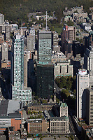 aerial photograph of Centre Bell, Marriott Château Champlain, Deloitte Tower and adjacent high rise buildings, Montreal, Quebec, Canada