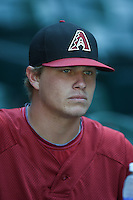 Arizona Diamondbacks pitcher Ben Eckels (10) before an Instructional League game against the Oakland Athletics on October 10, 2014 at Chase Field in Phoenix, Arizona.  (Mike Janes/Four Seam Images)