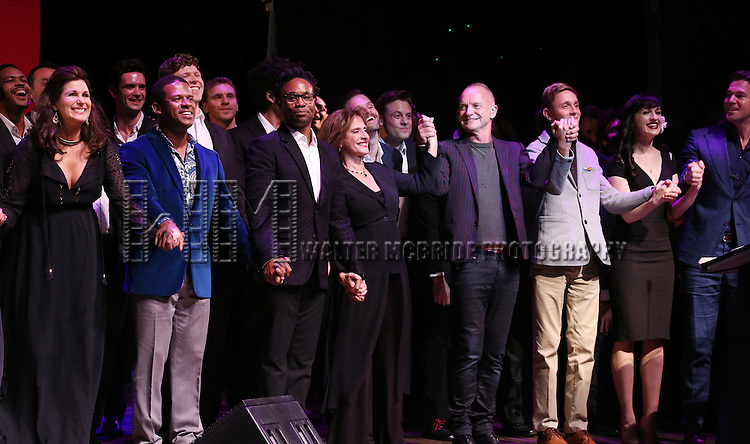 Stephanie J. Block, Billy Porter, Patti LuPone, Sting, Vlad, Lena Hall, Thomas Roberts and cast performing at 'Uprising Of Love: A Benefit Concert For Global Equality' at the Gershwin Theatre on September 15, 2014 in New York City.