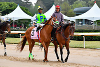 HOT SPRINGS, AR - APRIL 13:  Apple Blossom Handicap at Oaklawn Park on April 13, 2018 in Hot Springs,Arkansas.  #3 Fuhriously Kissed with jockey C.J. McMahon.(Photo by Ted McClenning/Eclipse Sportswire/Getty Images)