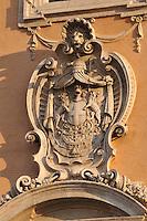 Rome, Italy: coat of arms on Palazzo dei Senatori in Piazza del Campidoglio.