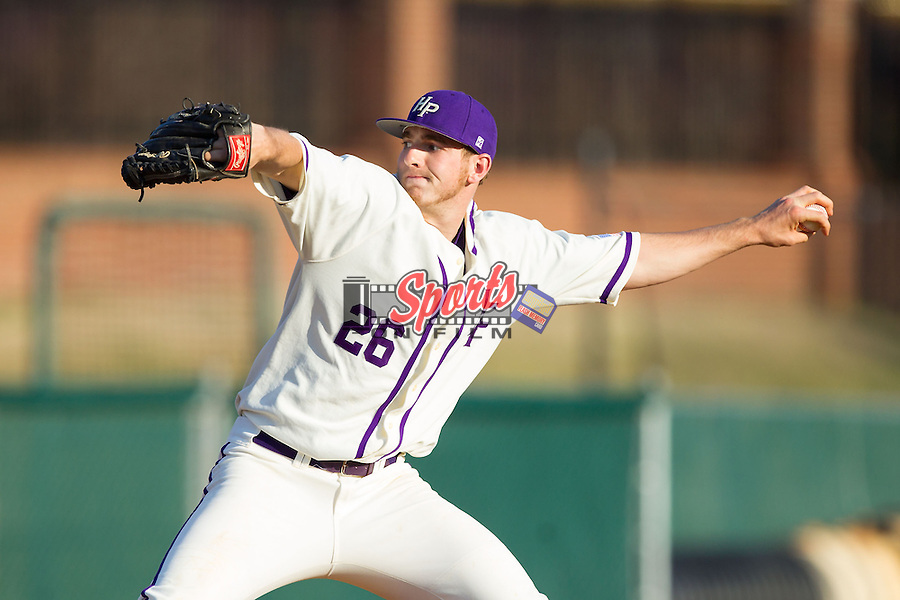 High Point Panthers relief pitcher Jon Carlson (26) in action against the Bowling Green Falcons at Willard Stadium on March 9, 2014 in High Point, North Carolina.  The Falcons defeated the Panthers 7-4.  (Brian Westerholt/Sports On Film)