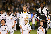 CARSON, CA – NOVEMBER 14: LA Galaxy players Dema Kovalenko (21), David Beckham (23)and Donovan Ricketts (1)before the Western Conference Final soccer match at the Home Depot Center, November 14, 2010 in Carson, California. Final score LA Galaxy 0, Dallas FC 3.