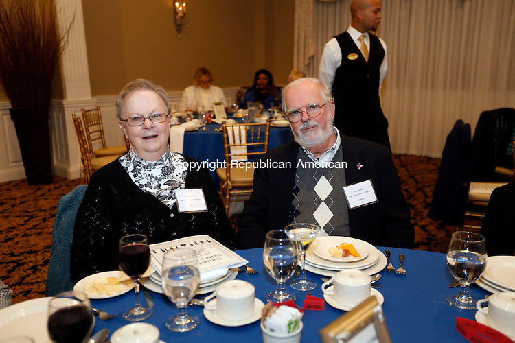 WATERTOWN, CT- 12 November 2016-111216CM16- Social Moments from left, Sandy and Gene Talbot  from Our Savior Lutheran Church of Thomaston  are photographed during the Naugatuck Valley Project's 4th Annual Micah Awards Dinner at the Grand Oak Villa in Oakville on Saturday.    Christopher Massa Republican-American