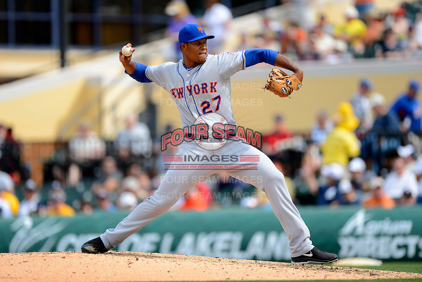 New York Mets pitcher Jeurys Familia #27 during a Spring Training game against the Detroit Tigers at Joker Marchant Stadium on March 11, 2013 in Lakeland, Florida.  New York defeated Detroit 11-0.  (Mike Janes/Four Seam Images)
