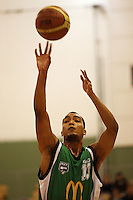 Manawatu forward Marcel Jones shoots a penalty during the NBL Round 5 match between the Manawatu Jets  and Auckland Stars at Arena Manawatu, Palmerston North, New Zealand on Friday 10 April 2009. Photo: Dave Lintott / lintottphoto.co.nz