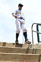 Montgomery Biscuits second baseman Ryan Brett (1) walks into the dugout during a game against the Mississippi Braves on April 22, 2014 at Riverwalk Stadium in Montgomery, Alabama.  Mississippi defeated Montgomery 6-2.  (Mike Janes/Four Seam Images)