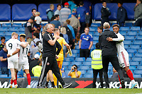 Sheffield United manager, Chris Wilder beats his chest during the Premier League match between Chelsea and Sheff United at Stamford Bridge, London, England on 31 August 2019. Photo by Carlton Myrie / PRiME Media Images.