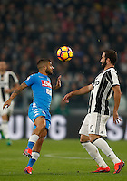 Calcio, Serie A: Juventus Stadium. Torino, Juventus Stadium, 29 ottobre 2016.<br /> Napoli's Lorenzo Insigne, left, and Juventus' Gonzalo Higuain fight for the ball during the Italian Serie A football match between Juventus and Napoli at Turin's Juventus Stadium, 29 October 2016. Juventus won 2-1.<br /> UPDATE IMAGES PRESS/Isabella Bonotto