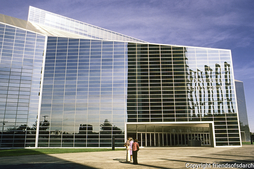 Philip Johnson: Crystal Cathedral, South Elevation, east portion. Windows of tempered silver-colored glass. Garden Grove.   Photo '80.