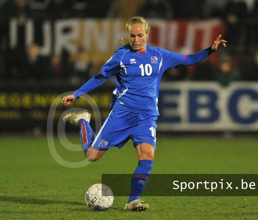 Qualification Women's Euro 2013 - Belgium - Iceland ; Belgie - Ijsland ; Armand Melis Stadion Dessel :.Dora Maria Larusdottir.foto DAVID CATRY / Vrouwenteam.be
