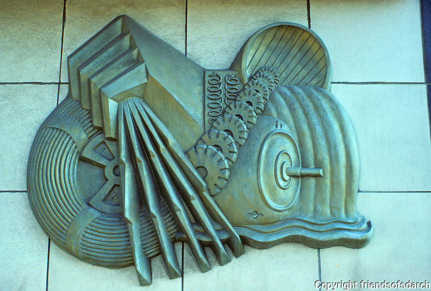 St. Louis: 1930's Art Moderne Warehouse/Commercial structure. Detail--plaque. Photo '78.