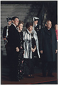 U.S. President Ronald Reagan and First Lady Nancy Reagan welcome USSR General Secretary Mikhail Gorbachev and his wife, Raisa, to the White House for a State Dinner in their honor on December 8, 1987.<br /> White House via CNP