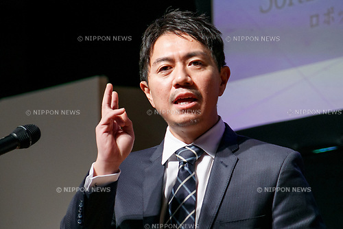Fumihide Tomizawa president and CEO of SoftBank Robotics Corp., speaks during a news conference for SoftBank Robot World 2017 on November 21, 2017, Tokyo, Japan. SoftBank Robotics organized SoftBank Robot World 2017 to introduce AI (Artificial Intelligence) and IoT (the Internet of Things) companies developing the latest technology for robots, including applications its humanoid robot Pepper in various business fields. The robot expo runs until November 22. (Photo by Rodrigo Reyes Marin/AFLO)