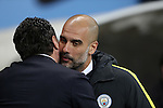 Manager of Watford Walter Mazzarri kisses Manchester City Manager Pep Guardiola before the English Premier League match at The Etihad Stadium, Manchester. Picture date: December 12th, 2016. Photo credit should read: Lynne Cameron/Sportimage