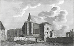 Engraving of Scottish landscapes and buildings from late eighteenth century,  Fratery at Dumfermling Abbey, Dunfermline, Scotland, UK 1790 , drawn by S Hooper