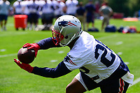 June 13, 2017: New England Patriots running back James White (28) makes a catch at the New England Patriots organized team activity held on the practice field at Gillette Stadium, in Foxborough, Massachusetts. Eric Canha/CSM