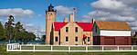 Old Mackinaw Point Lighthouse And The Mackinaw Bridge, Michigan, Lower Peninsula, USA