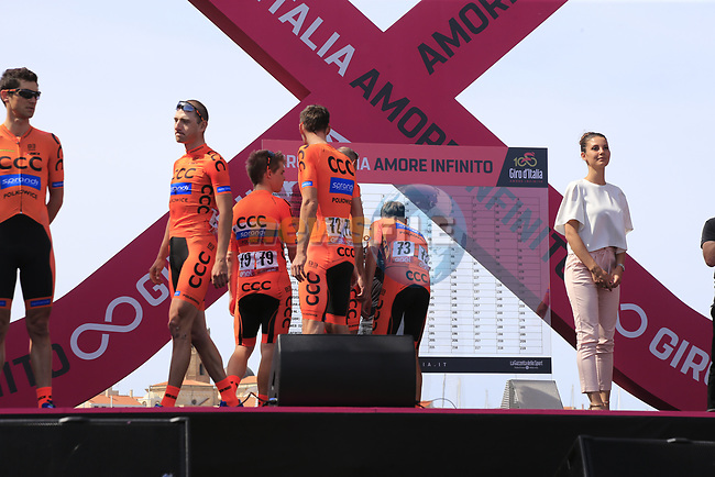 CCC Sprandi Polkowice at sign on before Stage 1 of the 100th edition of the Giro d'Italia 2017, running 206km from Alghero to Olbia, Sardinia, Italy. 4th May 2017.<br /> Picture: Eoin Clarke | Cyclefile<br /> <br /> <br /> All photos usage must carry mandatory copyright credit (&copy; Cyclefile | Eoin Clarke)