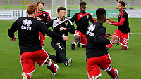 MK Dons players warm up pre-match during Forest Green Rovers vs MK Dons, Caraboa Cup Football at The New Lawn on 8th August 2017