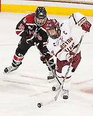 Hayley Scamurra (NU - 14), Dana Trivigno (BC - 8) - The Boston College Eagles defeated the Northeastern University Huskies 5-1 (EN) in their NCAA Quarterfinal on Saturday, March 12, 2016, at Kelley Rink in Conte Forum in Boston, Massachusetts.