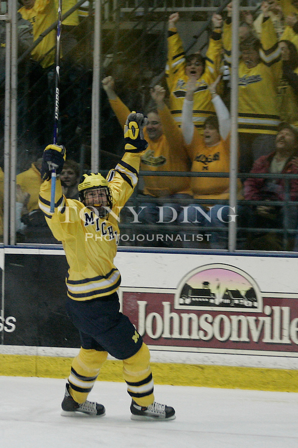 4 November 2006: Michigan sophomore forward Tim Miller celebrates his goal during a CCHA conference ice hockey game between Michigan and in-state rival Michigan State, at Yost Ice Arena in Ann Arbor, MI. Michigan won the game 6-2.