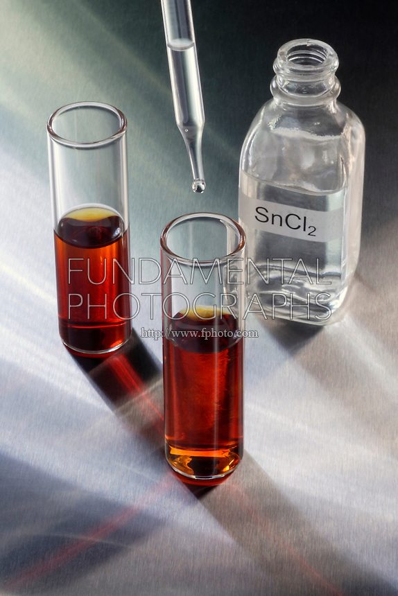 DISSOLUTION OF IODINE IN WATER<br /> (1 of 3 - Variations Available)<br /> Iodine solution in shell vials. <br /> tin cloride in pipette<br /> The solubility of elemental iodine in water is increased by the addition of potassium iodide. The molecular iodine reacts reversibly with the negative ion, creating the triiodide anion, I3, which dissolves well in water.