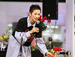"October 29, 2017, Tokyo, Japan - Japanese singer Mari Natsuki speaks for her charity project ""One of Love"" to support Ethiopian children at a flower exhibition ""Sunshine City Rose Garden"" in Tokyo on Sunday, October 29, 2017. She started the charity project 10 years ago using her selective breeding rose ""Mari-rouge"".   (Photo by Yoshio Tsunoda/AFLO) LWX -ytd-"