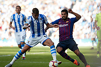during the Spanish football of La Liga Santander, match between Real Sociedad and FC Barcelona at the Anoeta stadium, in San Sebastian, Spain, on Saturday, September 15, 2018.