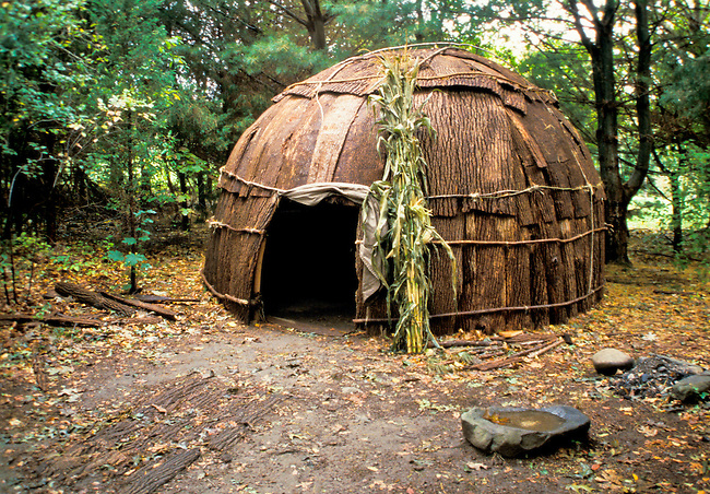 The Algonkin Indians lived in bark covered dwellings called wigwams. Their houses were either built in both a cone or dome shape.