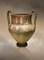 Phrygian terra cotta amphora decorated with geometric designs from Gordion. Phrygian Collection, 8th century BC - Museum of Anatolian Civilisations Ankara. Turkey. Against an art background