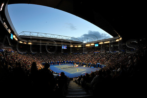 26.01.2012 Melbourne, Australia. A general view of Rod Laver Arena on Day 11 of the first men's semi final match.