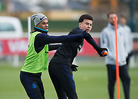 Dele Alli of England and Marcus Rashford of England during the England National Team Training ahead of the international friendly match with Italy at Tottenham Hotspur Training Ground, Hotspur Way, England on 26 March 2018. Photo by Vince  Mignott.