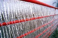 Icicles cling to a cattle gate in Piedmont Oklahoma after a devastating ice storm hit the area in February.