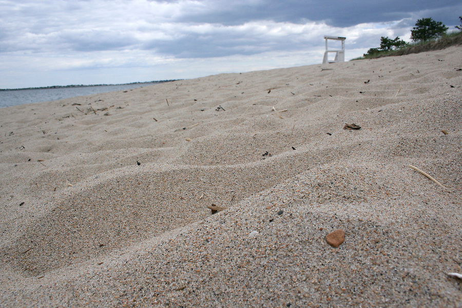 Saco Ferry Beach Sand and lifeguard stand at Ferry Beach state park