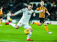 Sheffield United's forward Billy Sharp (10) strikes on goal during the Sky Bet Championship match between Hull City and Sheff United at the KC Stadium, Kingston upon Hull, England on 23 February 2018. Photo by Stephen Buckley / PRiME Media Images.