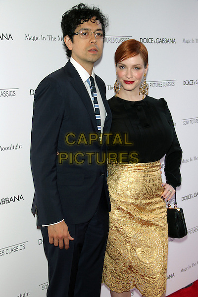 NEW YORK, NY - JULY 17: Christina Hendricks and Geoffrey Arend at the 'Magic In The Moonlight' premiere at the Paris Theater on July 17, 2014 in New York City.  <br /> CAP/MPI/RW<br /> &copy;RW/ MediaPunch/Capital Pictures