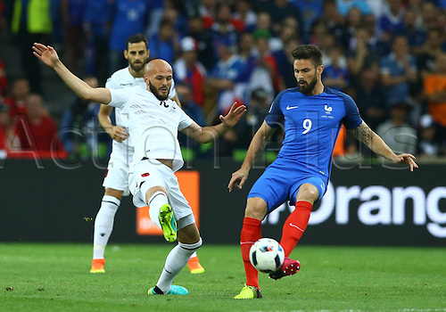 15.06.2016. Marseille, France. UEFA Euro 2016 Group A match between France and Albania at the Stade Velodrome in Marseille.  Arlind Ajeti Albania and Olivier Giroud France