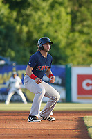Salem Red Sox outfielder Trenton Kemp (10) running the bases during a game against the Myrtle Beach Pelicans at Ticketreturn.com Field at Pelicans Ballpark on June 8, 2018 in Myrtle Beach, South Carolina. Myrtle Beach defeated Salem 5-4. (Robert Gurganus/Four Seam Images)