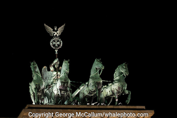 Night view of Quadriga on top of Brandenburger Tor Berlin Germany