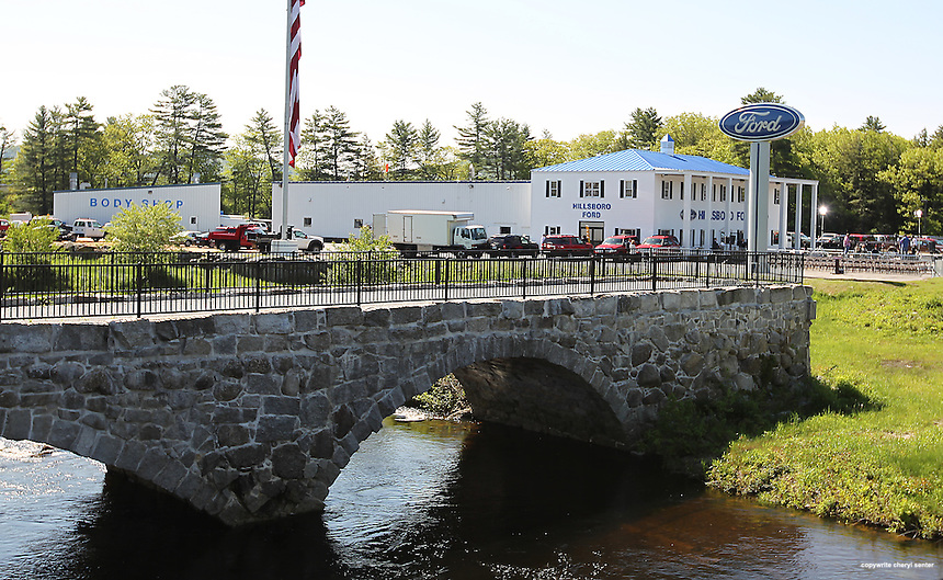 The Sawyer Bridge, seen here, was used as a backdrop for Republican 2012 presidential candidate, former Massachusetts Gov. Mitt Romney's  political event in Hillsborough, N.H., Friday, May 18, 2012 . (Cheryl Senter for the New York Times)